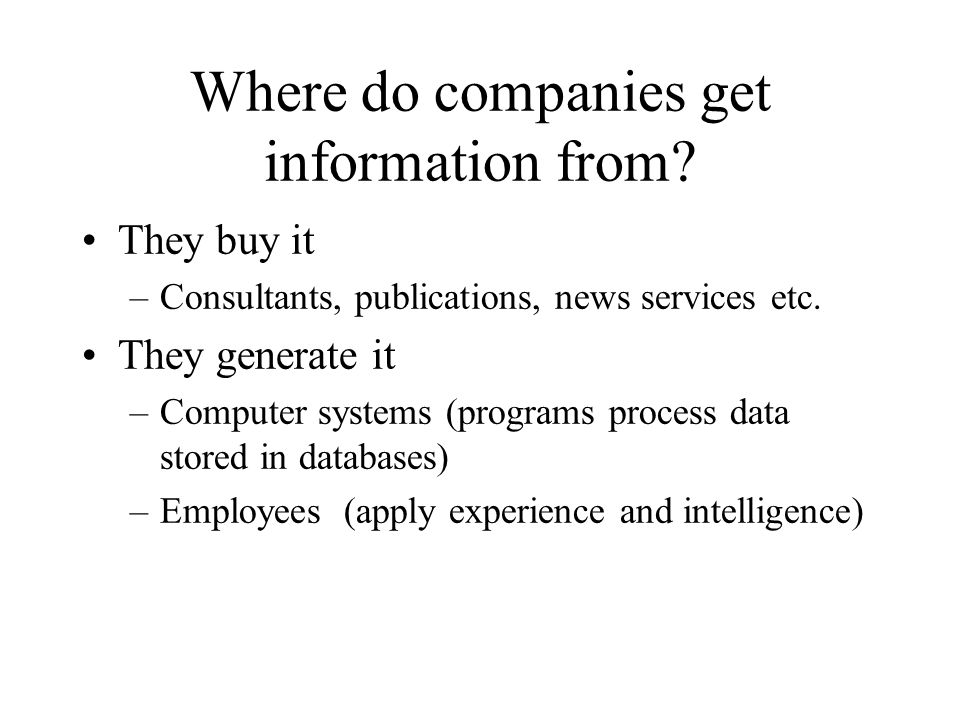Where do we store Intangible Assets -- Information.