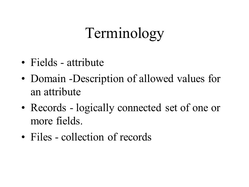 History of Data Processing Manual record-keeping –High labor costs and human errors Data file – stores information on a single entity and the attributes of that entity Database – a structure that can store information about multiple types of entities, the attributes of these entities, and the relationships among the entities
