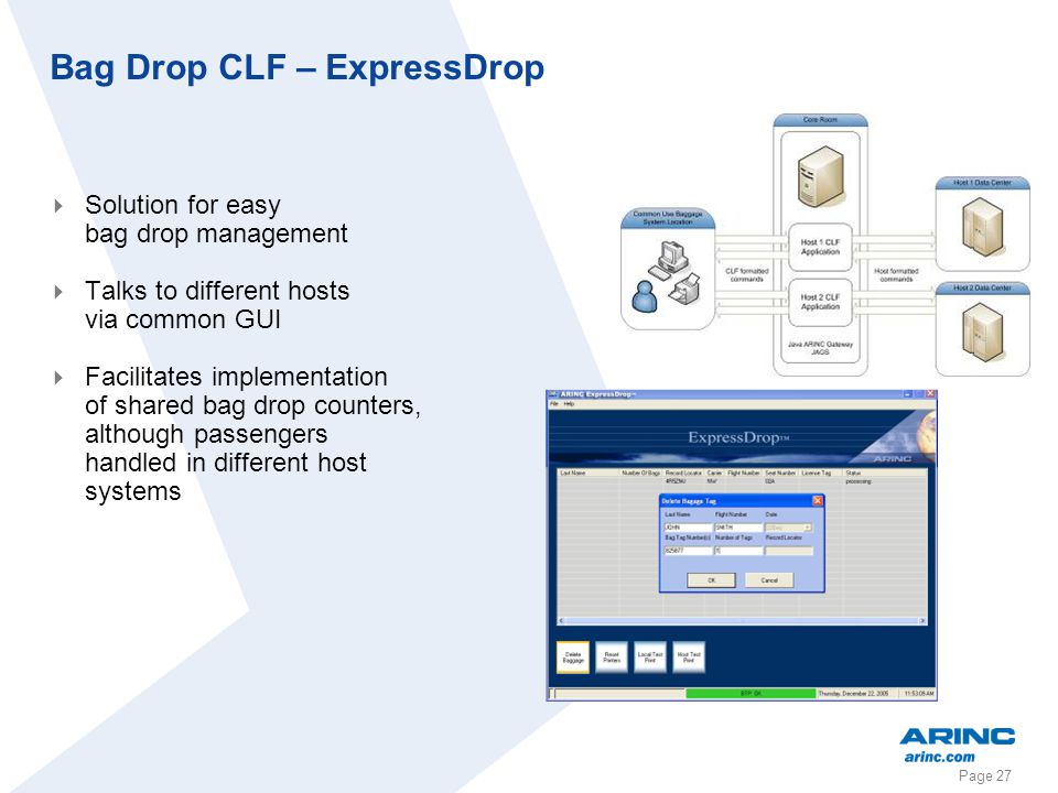 Page 27 Bag Drop CLF – ExpressDrop Solution for easy bag drop management Talks to different hosts via common GUI Facilitates implementation of shared