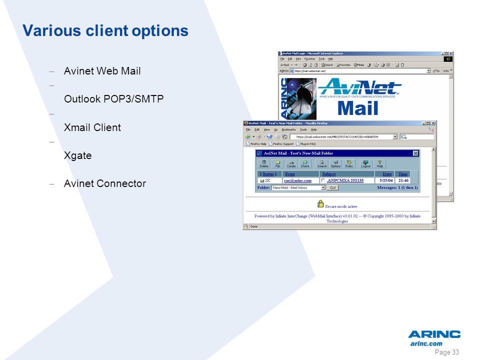 Page 33 Various client options Avinet Web Mail Outlook POP3/SMTP Xmail Client Xgate Avinet Connector