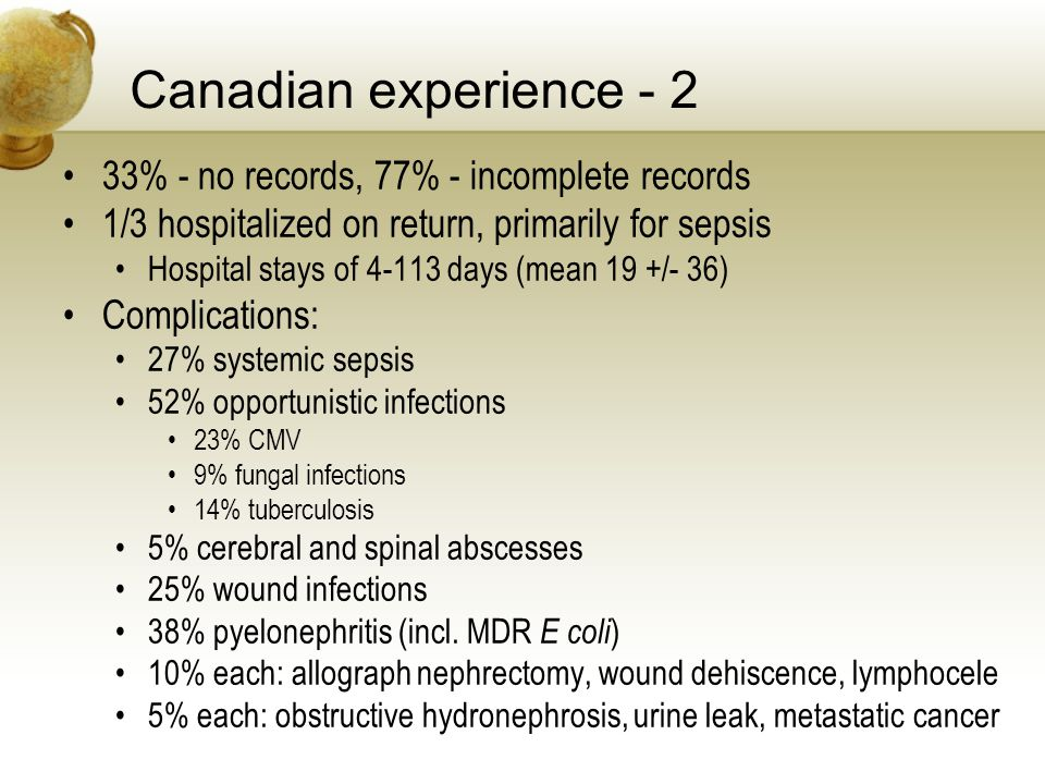 Canadian experience - 2 33% - no records, 77% - incomplete records 1/3 hospitalized on return, primarily for sepsis Hospital stays of 4-113 days (mean 19 +/- 36) Complications: 27% systemic sepsis 52% opportunistic infections 23% CMV 9% fungal infections 14% tuberculosis 5% cerebral and spinal abscesses 25% wound infections 38% pyelonephritis (incl.