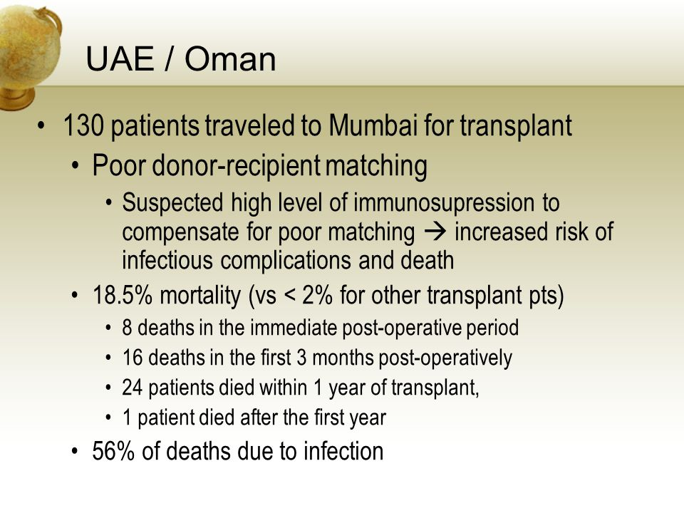 UAE / Oman 130 patients traveled to Mumbai for transplant Poor donor-recipient matching Suspected high level of immunosupression to compensate for poor matching increased risk of infectious complications and death 18.5% mortality (vs < 2% for other transplant pts) 8 deaths in the immediate post-operative period 16 deaths in the first 3 months post-operatively 24 patients died within 1 year of transplant, 1 patient died after the first year 56% of deaths due to infection