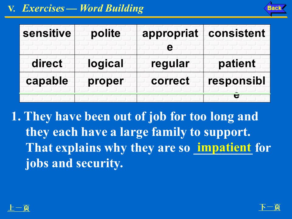 V. Exercises Word Building V. The prefixes in-, im-, il- and ir- are added to adjectives to make them negative in meaning. For example, Ex. V, p. 154
