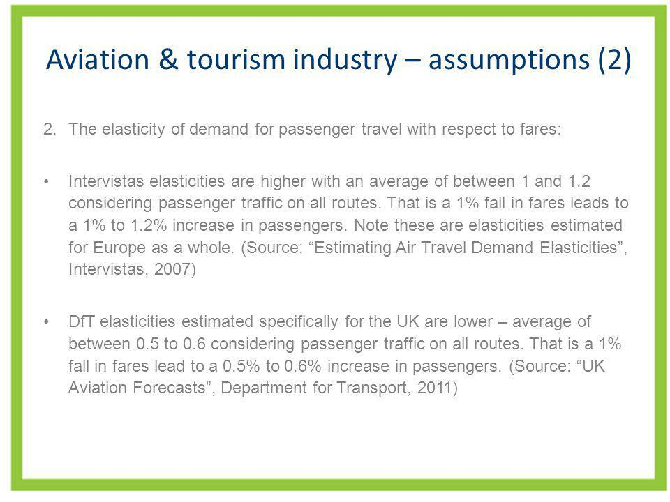 Aviation & tourism industry – assumptions (2) 2.The elasticity of demand for passenger travel with respect to fares: Intervistas elasticities are high