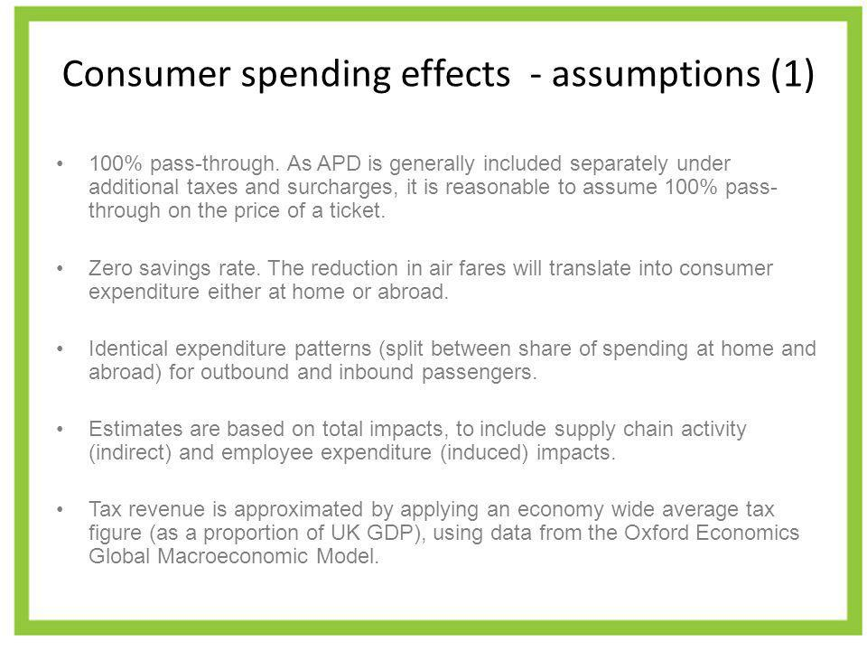 Consumer spending effects - assumptions (1) 100% pass-through. As APD is generally included separately under additional taxes and surcharges, it is re