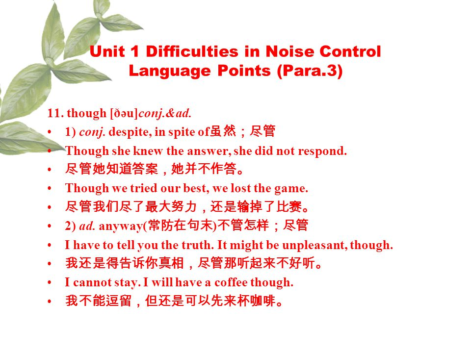 Unit 1 Difficulties in Noise Control Language Points (Para.3) 11.