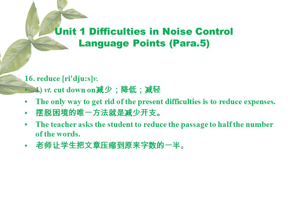 Unit 1 Difficulties in Noise Control Language Points (Para.5) 16.