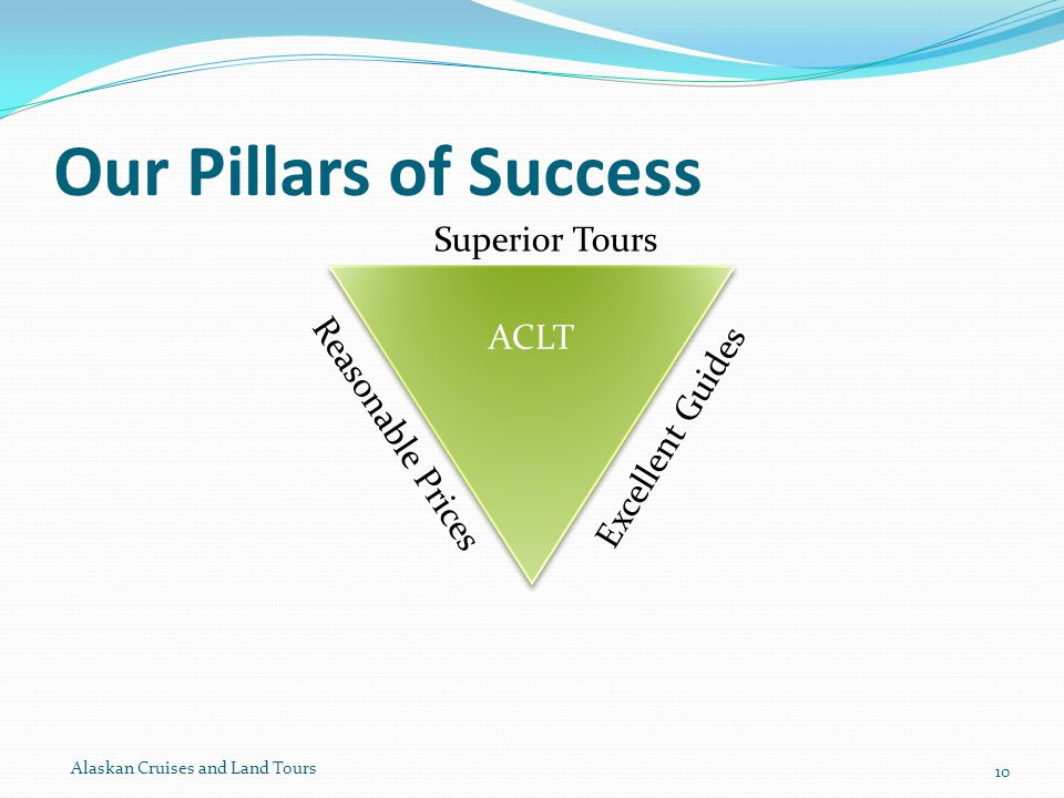 Our Pillars of Success Alaskan Cruises and Land Tours 10 Reasonable Prices Superior Tours Excellent Guides ACLT