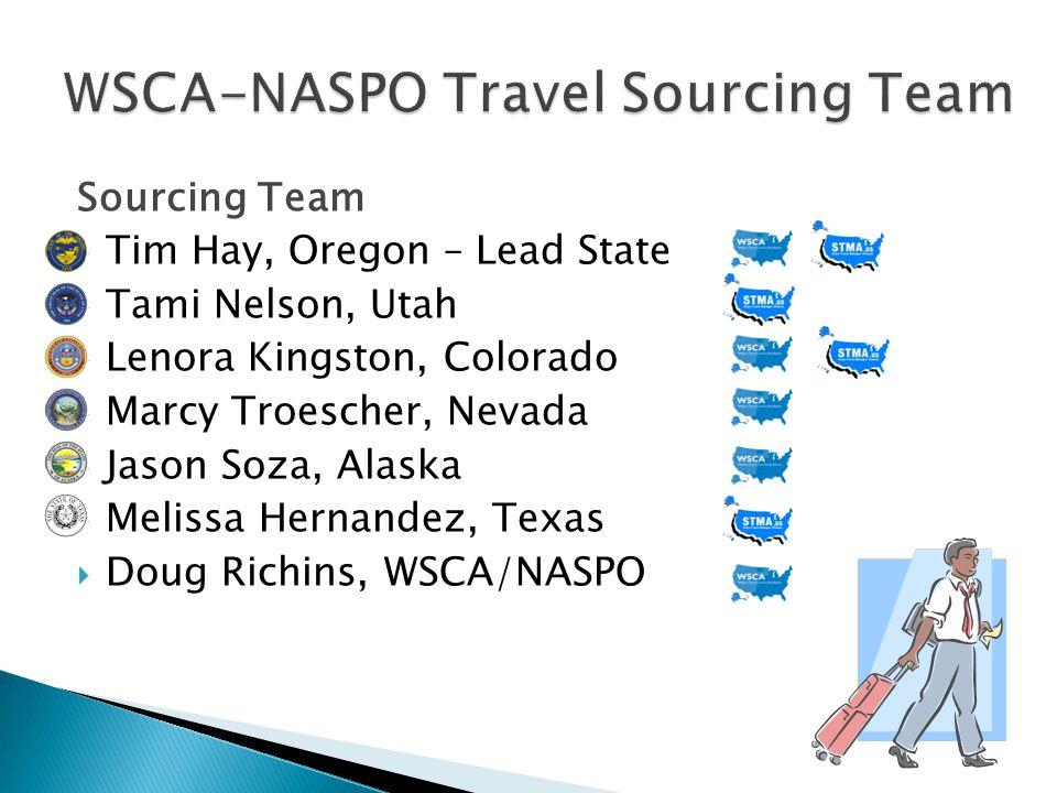 Sourcing Team Tim Hay, Oregon – Lead State Tami Nelson, Utah Lenora Kingston, Colorado Marcy Troescher, Nevada Jason Soza, Alaska Melissa Hernandez, Texas Doug Richins, WSCA/NASPO