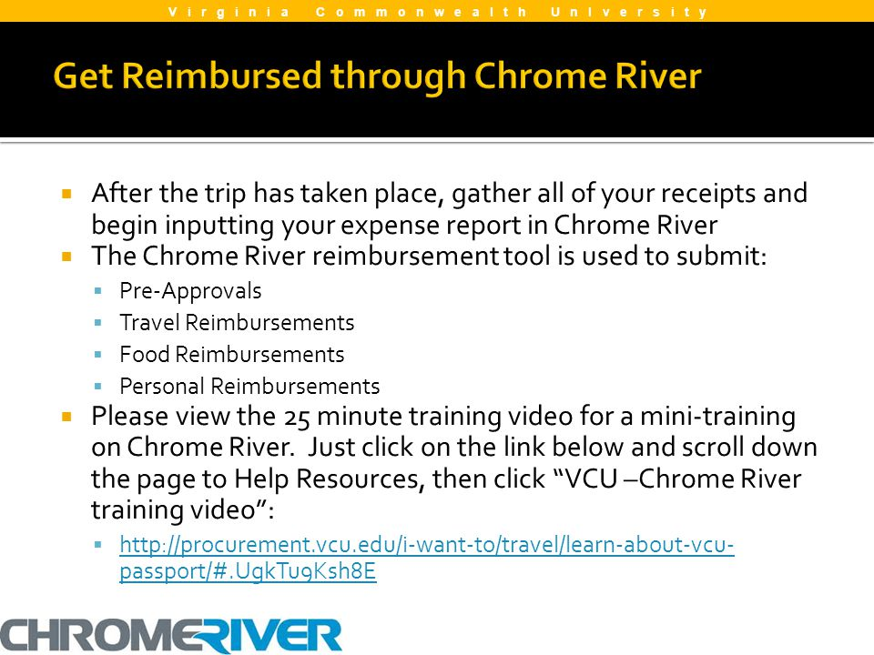 After the trip has taken place, gather all of your receipts and begin inputting your expense report in Chrome River The Chrome River reimbursement too