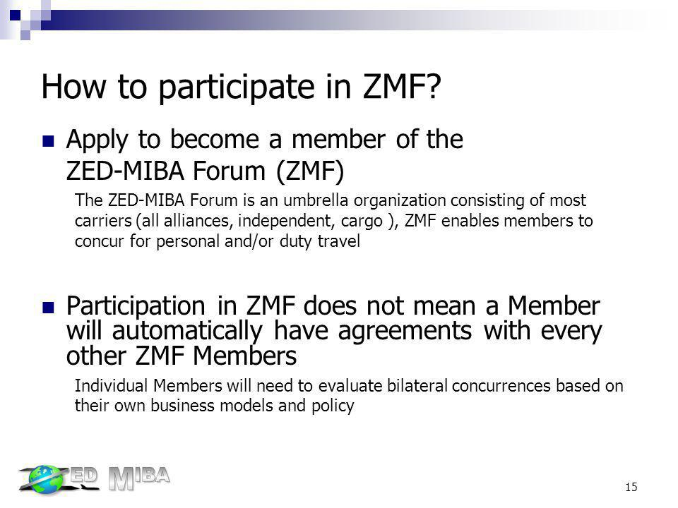 How to participate in ZMF? Apply to become a member of the ZED-MIBA Forum (ZMF) The ZED-MIBA Forum is an umbrella organization consisting of most carr