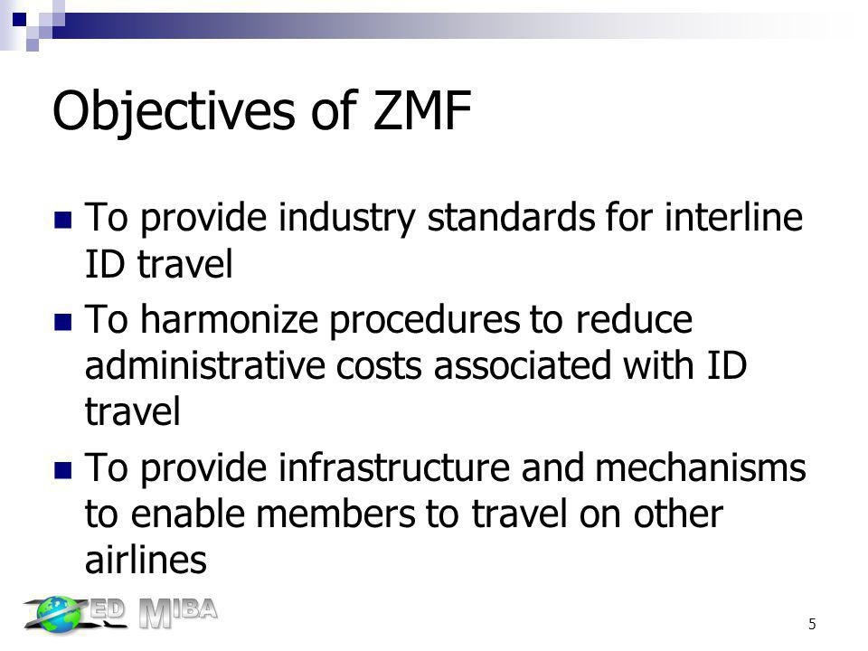 Objectives of ZMF To provide industry standards for interline ID travel To harmonize procedures to reduce administrative costs associated with ID trav