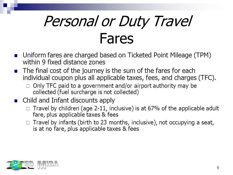 Personal or Duty Travel Fares Uniform fares are charged based on Ticketed Point Mileage (TPM) within 9 fixed distance zones The final cost of the jour