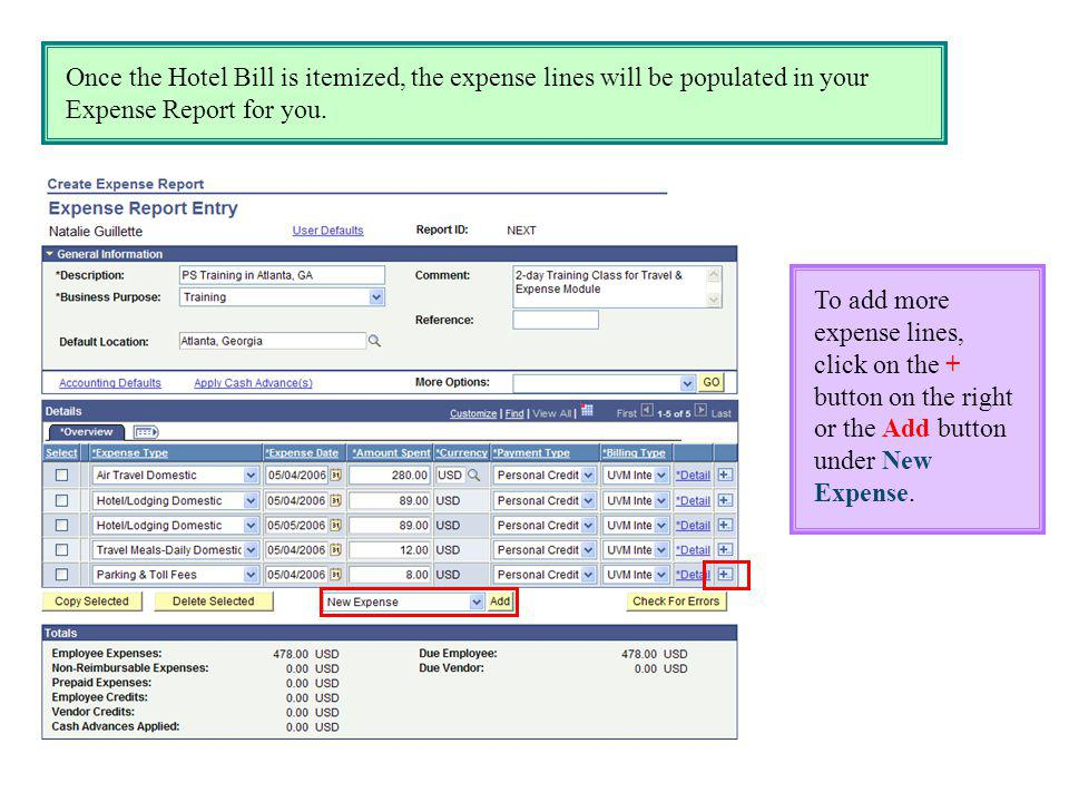 Once the Hotel Bill is itemized, the expense lines will be populated in your Expense Report for you. To add more expense lines, click on the + button