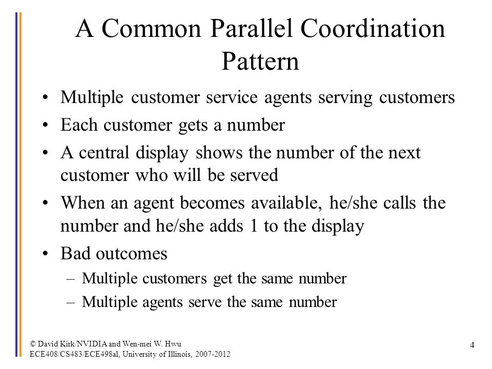 A Common Parallel Coordination Pattern Multiple customer service agents serving customers Each customer gets a number A central display shows the numb
