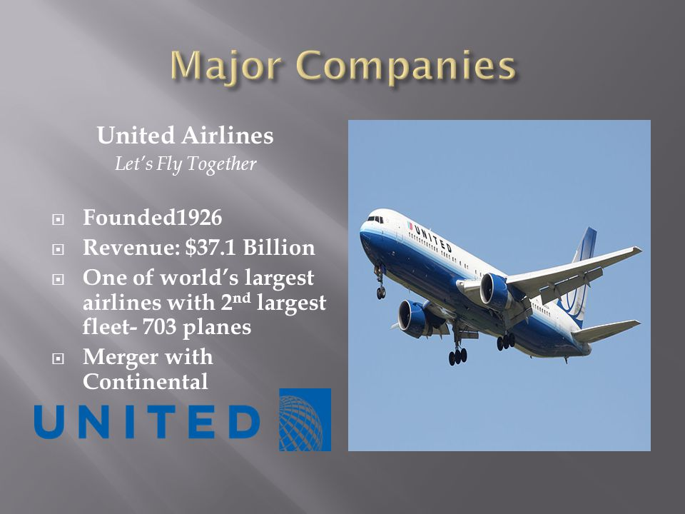 United Airlines Lets Fly Together Founded1926 Revenue: $37.1 Billion One of worlds largest airlines with 2 nd largest fleet- 703 planes Merger with Continental