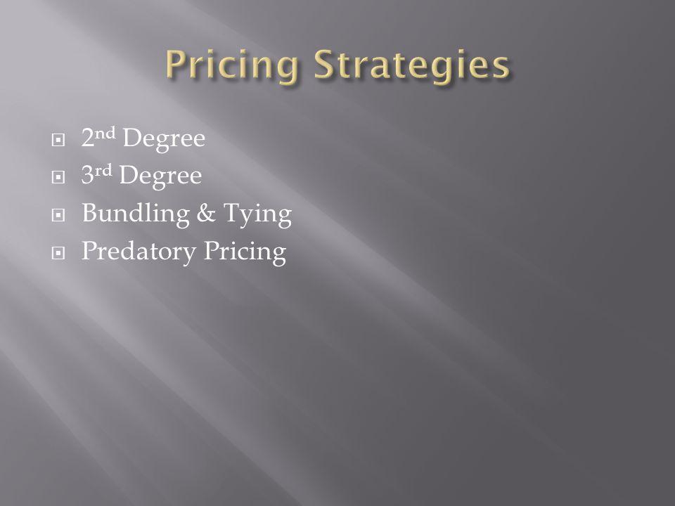 2 nd Degree 3 rd Degree Bundling & Tying Predatory Pricing