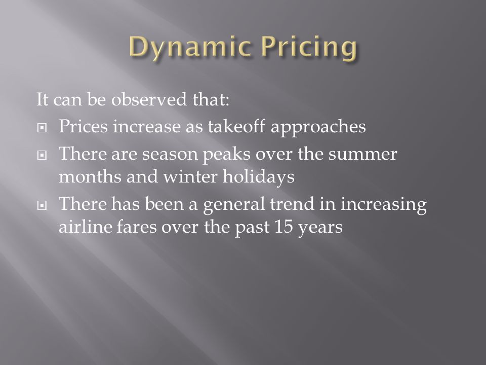 It can be observed that: Prices increase as takeoff approaches There are season peaks over the summer months and winter holidays There has been a general trend in increasing airline fares over the past 15 years