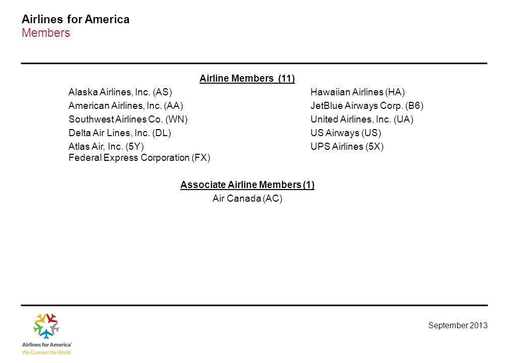 September 2013 Airlines for America Members Airline Members (11) Alaska Airlines, Inc.