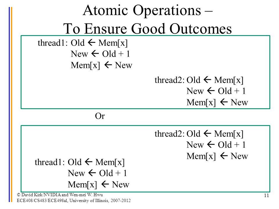 © David Kirk/NVIDIA and Wen-mei W. Hwu ECE408/CS483/ECE498al, University of Illinois, 2007-2012 11 Atomic Operations – To Ensure Good Outcomes thread1
