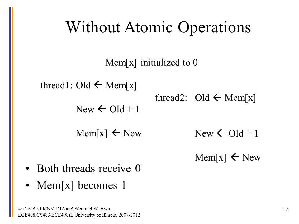 © David Kirk/NVIDIA and Wen-mei W. Hwu ECE408/CS483/ECE498al, University of Illinois, 2007-2012 12 Without Atomic Operations thread1: thread2:Old Mem[
