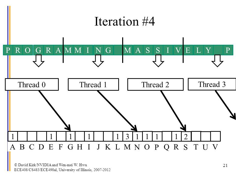 Iteration #4 © David Kirk/NVIDIA and Wen-mei W. Hwu ECE408/CS483/ECE498al, University of Illinois, 2007-2012 21 PROGRAMMINGMAVISSYLEP Thread 0Thread 1