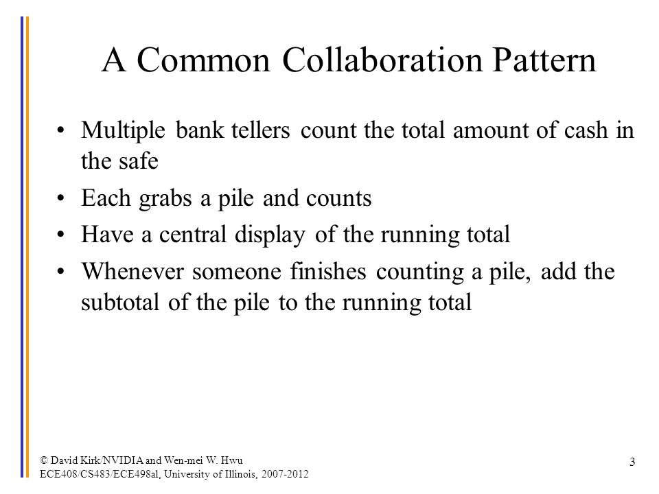 A Common Collaboration Pattern Multiple bank tellers count the total amount of cash in the safe Each grabs a pile and counts Have a central display of