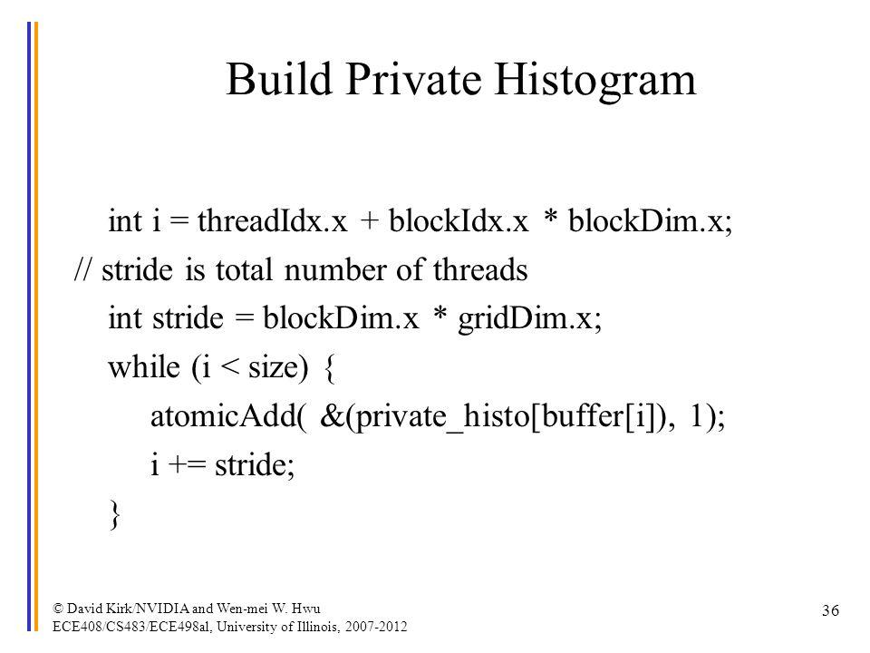 Build Private Histogram int i = threadIdx.x + blockIdx.x * blockDim.x; // stride is total number of threads int stride = blockDim.x * gridDim.x; while