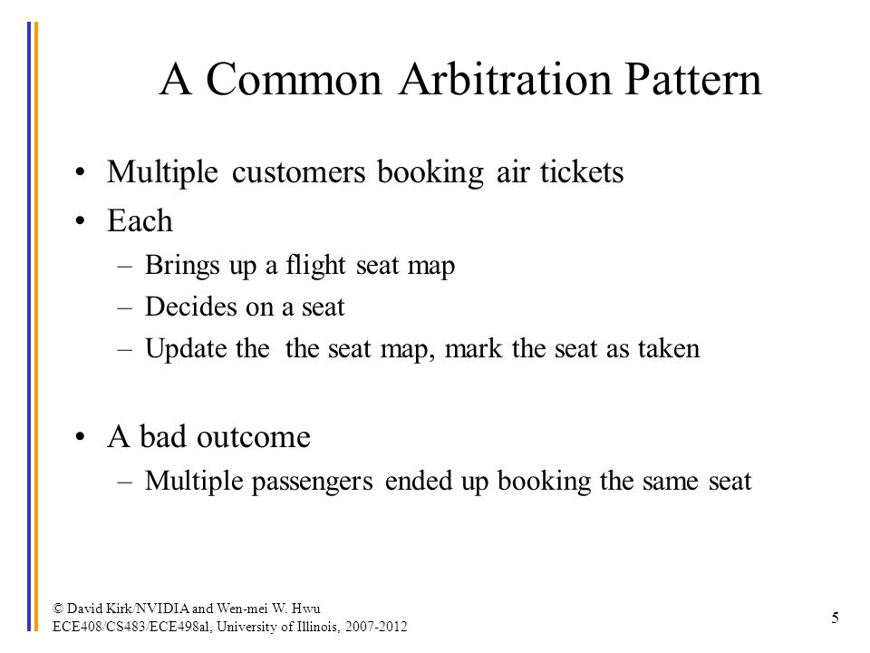 A Common Arbitration Pattern Multiple customers booking air tickets Each –Brings up a flight seat map –Decides on a seat –Update the the seat map, mar