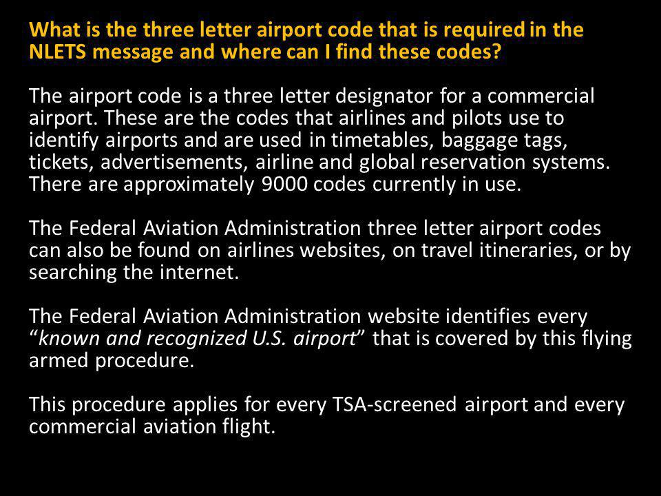 What is the three letter airport code that is required in the NLETS message and where can I find these codes.