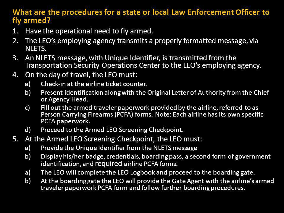 What are the procedures for a state or local Law Enforcement Officer to fly armed.
