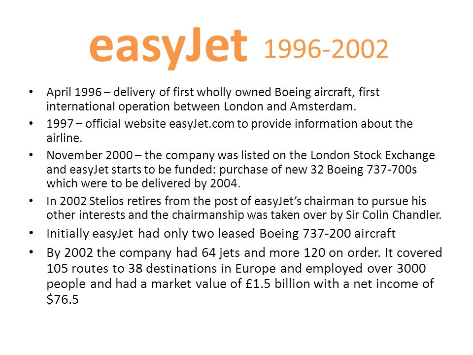 1996-2002 April 1996 – delivery of first wholly owned Boeing aircraft, first international operation between London and Amsterdam. 1997 – official web