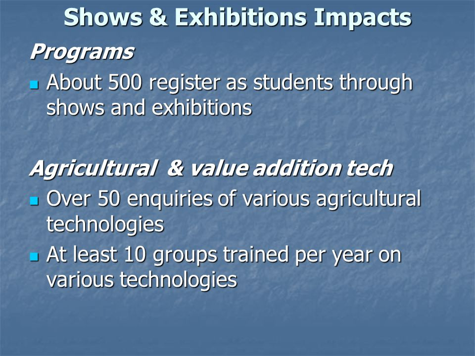 Shows & Exhibitions Impacts Programs About 500 register as students through shows and exhibitions About 500 register as students through shows and exh