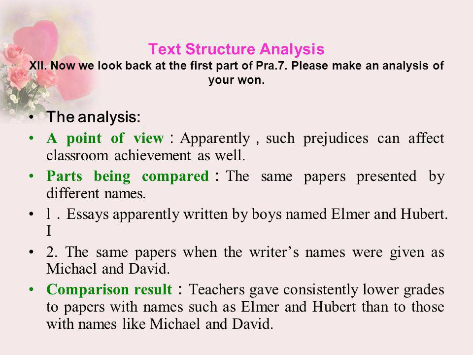 Text Structure Analysis XII. Now we look back at the first part of Pra.7. Please make an analysis of your won. The analysis: A point of view Apparentl