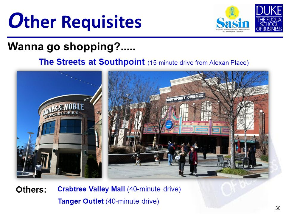 O ther Requisites 30 Wanna go shopping .....
