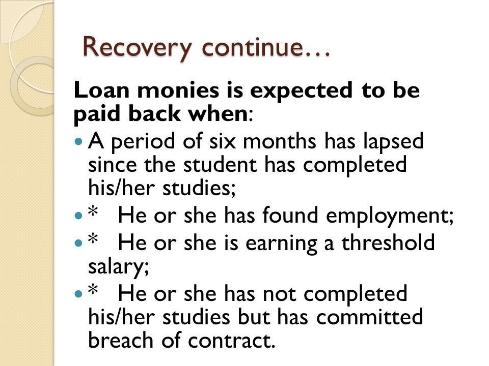 Recovery continue… Loan monies is expected to be paid back when: A period of six months has lapsed since the student has completed his/her studies; *H