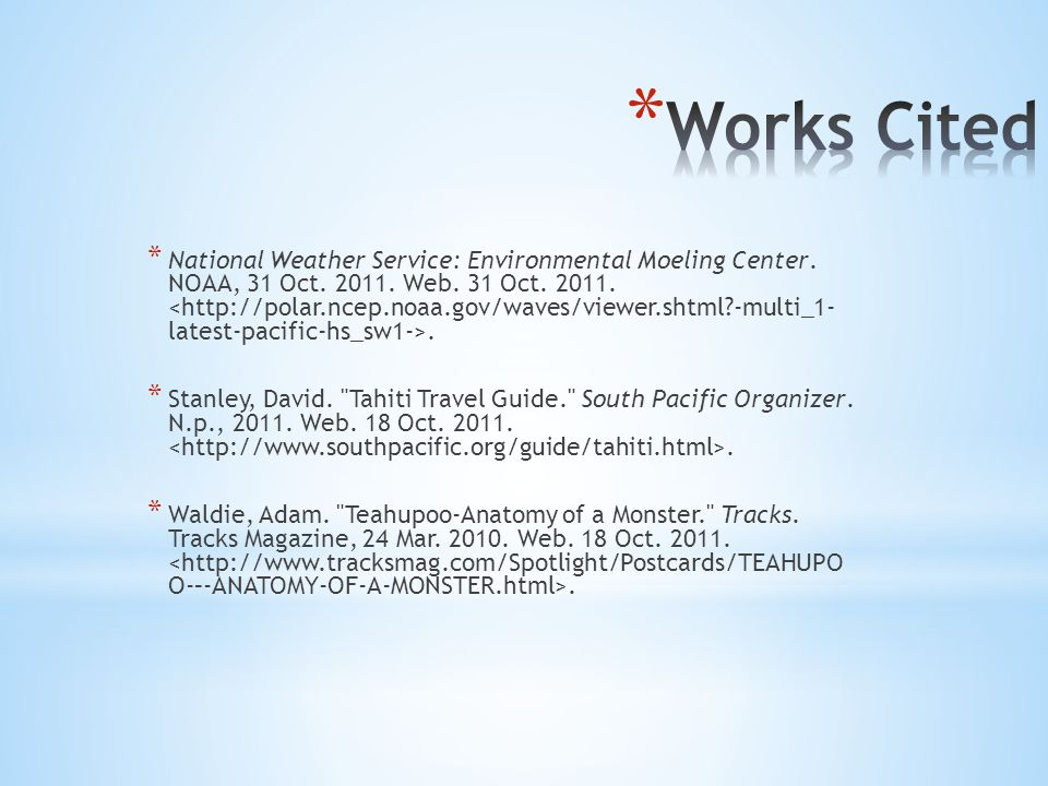 * National Weather Service: Environmental Moeling Center.