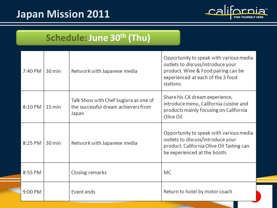Japan Mission 2011 Schedule: June 30 th (Thu) 7:40 PM30 minNetwork with Japanese media Opportunity to speak with various media outlets to discuss/introduce your product.