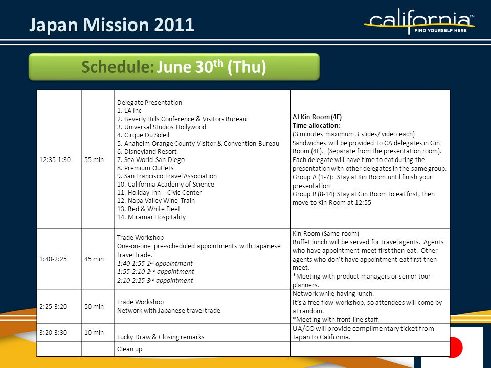 Japan Mission 2011 Schedule: June 30 th (Thu) 12:35-1:3055 min Delegate Presentation 1.