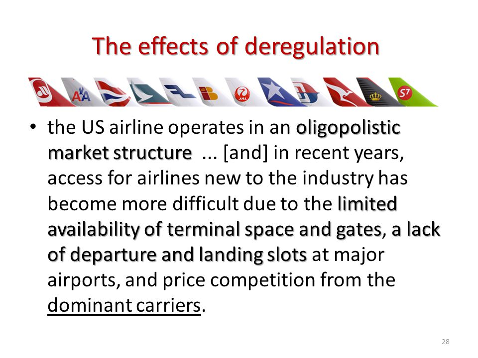 oligopolistic market structure limited availability of terminal space and gatesa lack of departure and landing slots the US airline operates in an oli