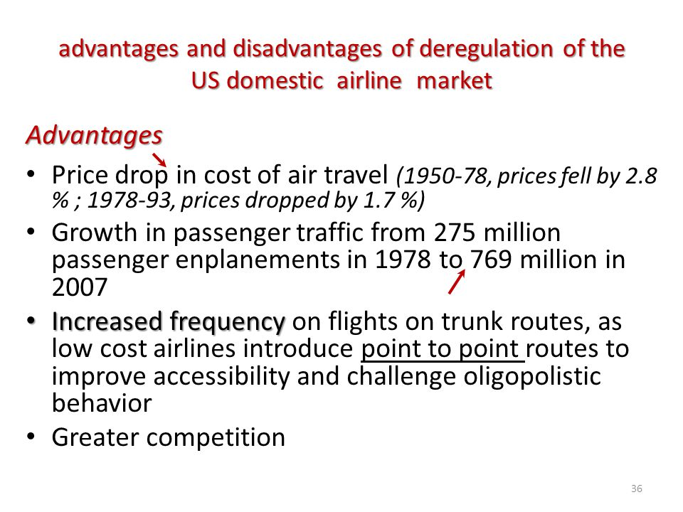 advantages and disadvantages of deregulation of the US domestic airline market Advantages Price drop in cost of air travel (1950-78, prices fell by 2.