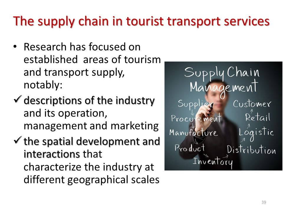 The supply chain in tourist transport services Research has focused on established areas of tourism and transport supply, notably: descriptions of the