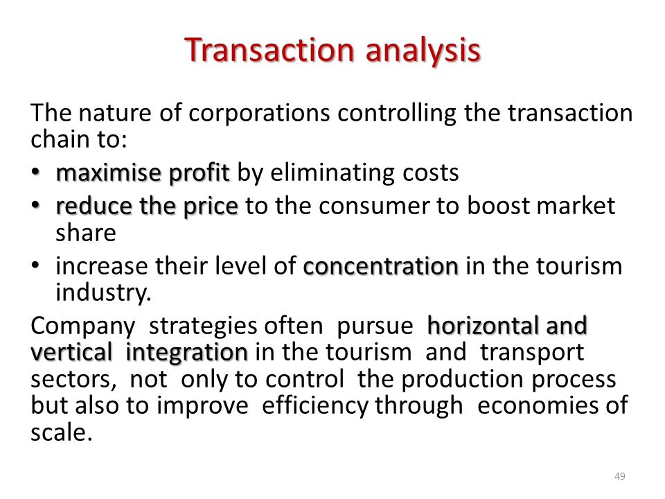 The nature of corporations controlling the transaction chain to: maximise profit maximise profit by eliminating costs reduce the price reduce the pric