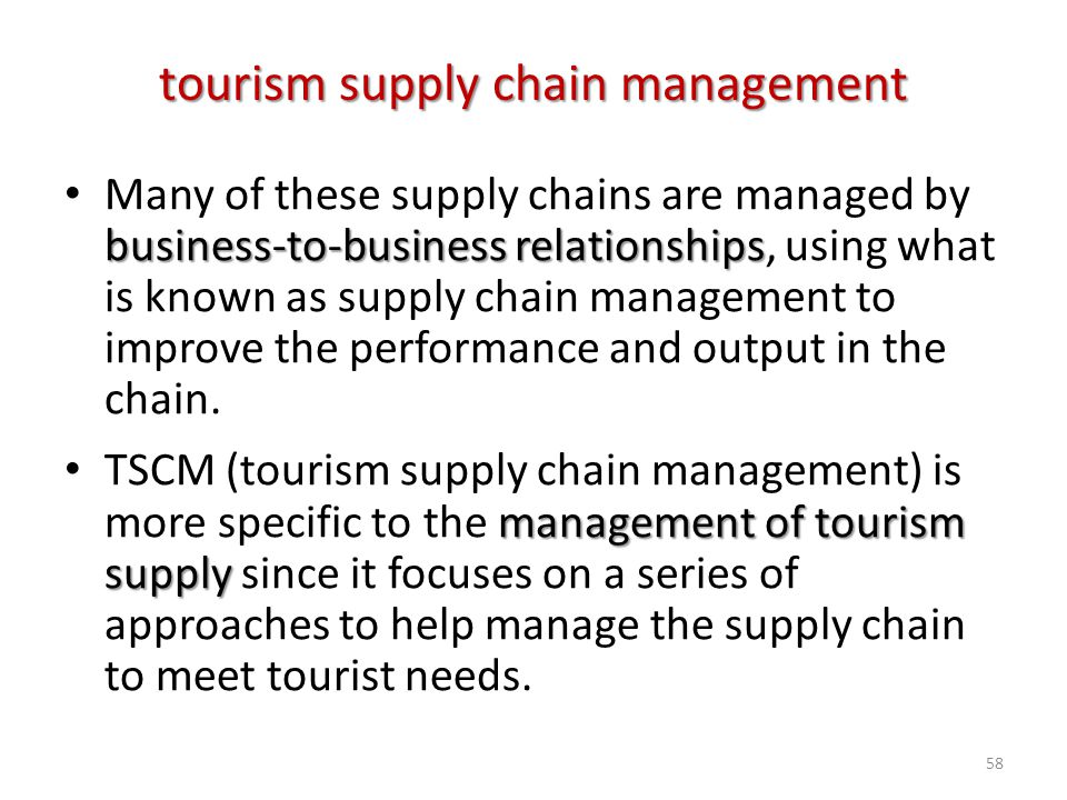 business-to-business relationships Many of these supply chains are managed by business-to-business relationships, using what is known as supply chain