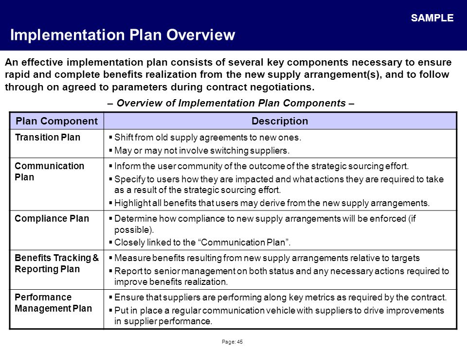 Page: 45 Implementation Plan Overview An effective implementation plan consists of several key components necessary to ensure rapid and complete benef