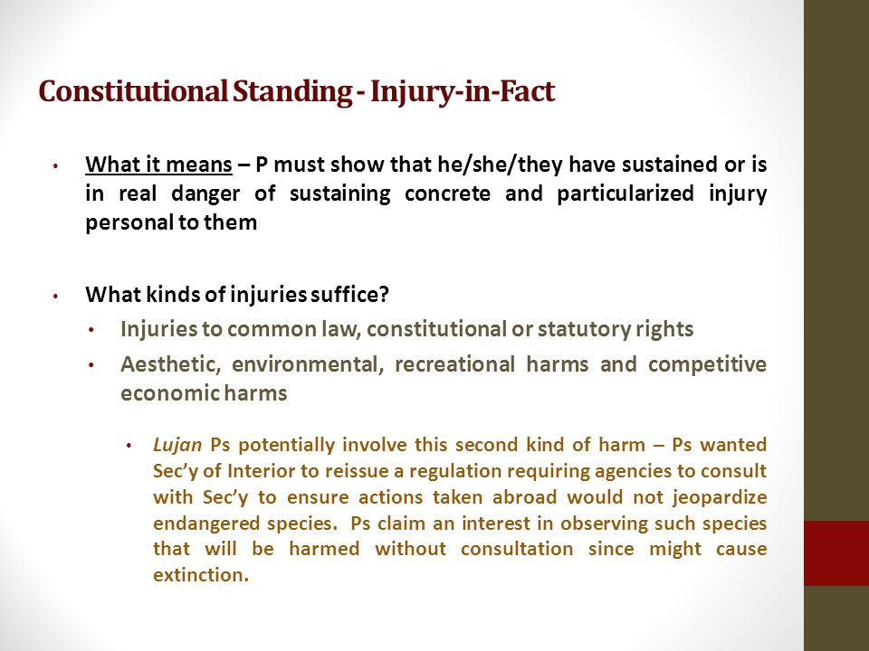 Constitutional Standing - Injury-in-Fact What it means – P must show that he/she/they have sustained or is in real danger of sustaining concrete and particularized injury personal to them What kinds of injuries suffice.