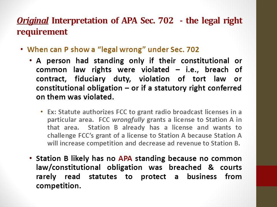 Original Interpretation of APA Sec.
