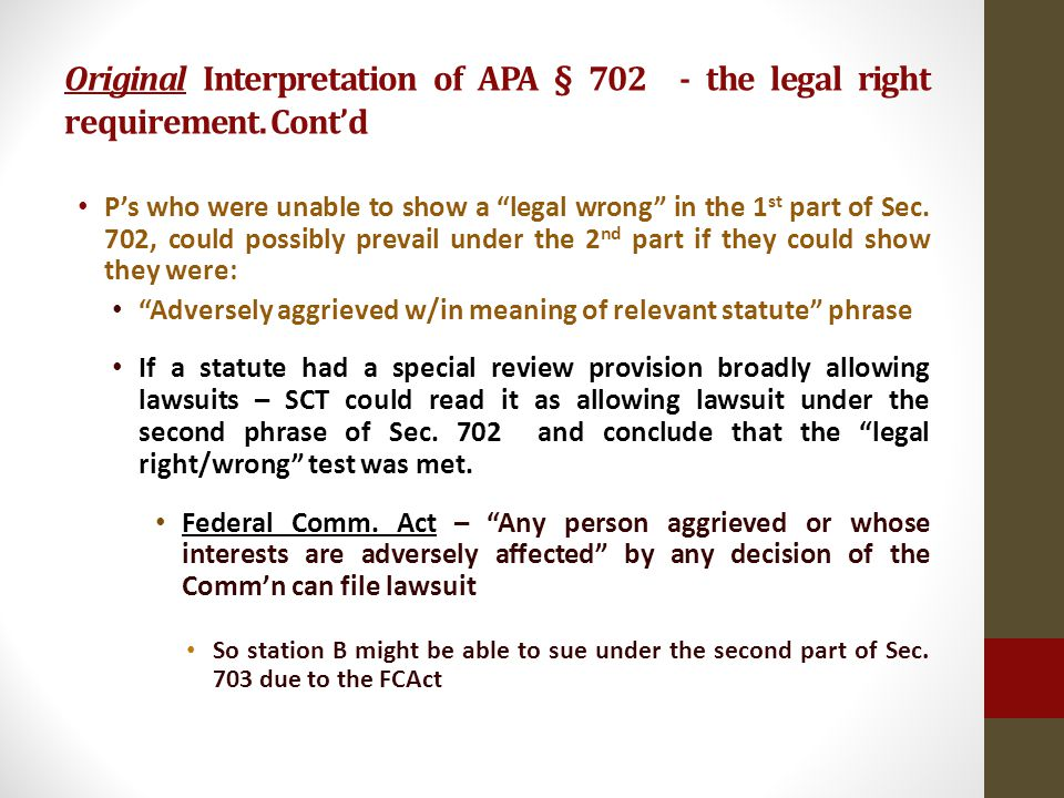Original Interpretation of APA § 702 - the legal right requirement.