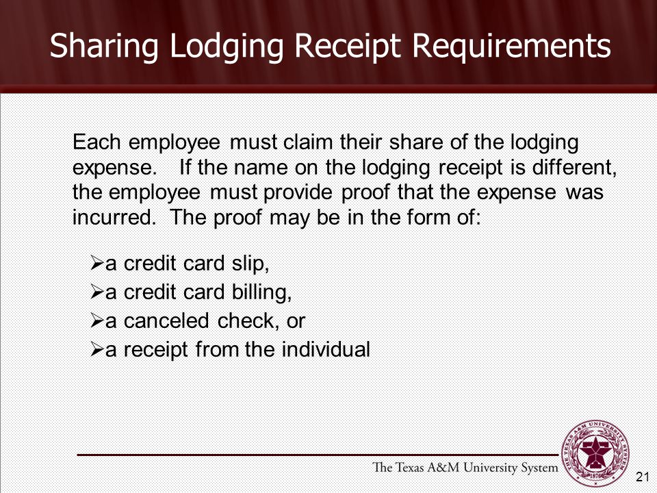Each employee must claim their share of the lodging expense.