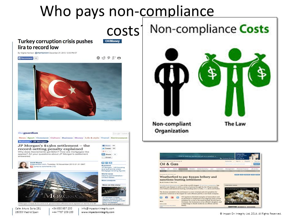 Who pays non-compliance costs.